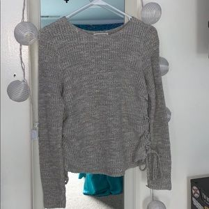 AE Grey Sweater with Tie Up side